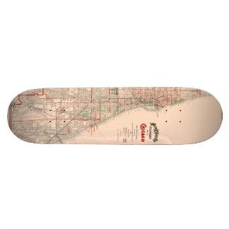 Vintage Old Map of Chicago - 1893 Skateboards