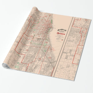 Vintage Old Map of Chicago - 1893 Wrapping Paper