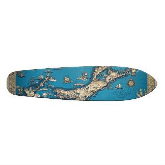 Vintage Old Map of the Bermuda Islands Skateboard Deck