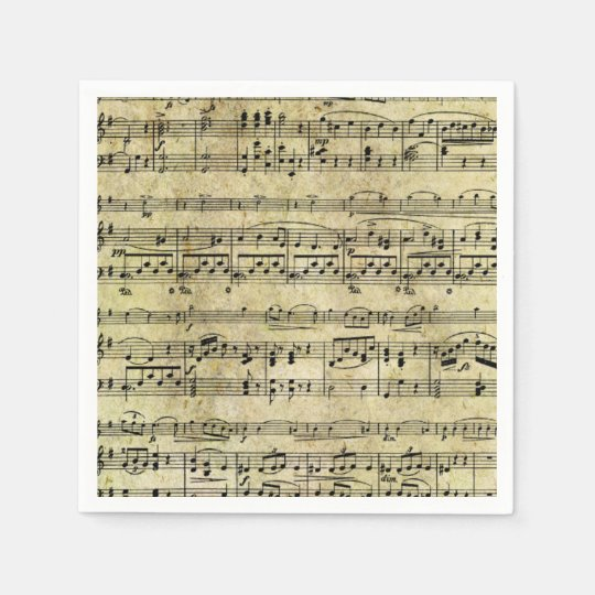 Vintage Old Music Notes Paper Texture Paper Napkins