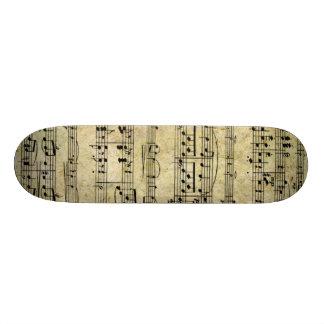 Vintage Old Music Notes Paper Texture Custom Skate Board