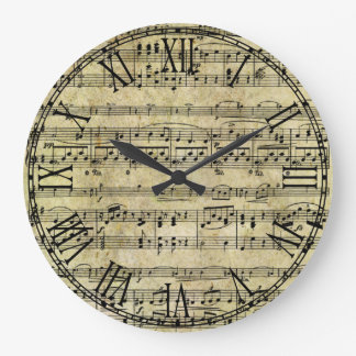 Vintage Old Music Notes Paper Texture Wall Clocks