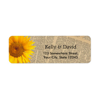 Vintage Old Newspaper Country Sunflower Wedding Return Address Label