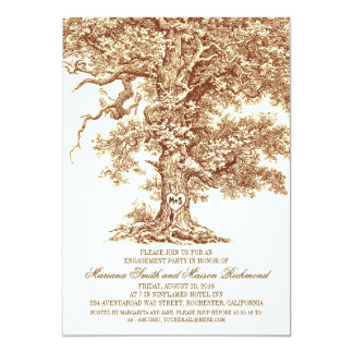 "Vintage old oak tree rustic ENGAGEMENT PARTY 5"" X 7"" Invitation Card"