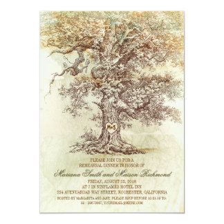 """Vintage old oak tree rustic rehearsal dinner 5"""" x 7"""" invitation card"""