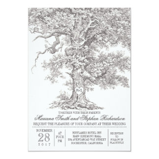 Vintage old oak tree rustic wedding invitations