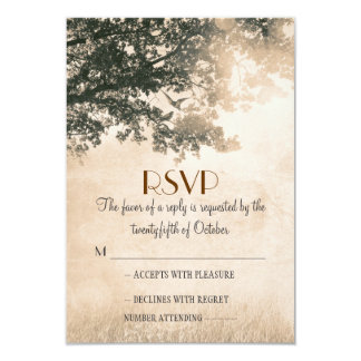 Vintage old oak tree wedding RSVP cards