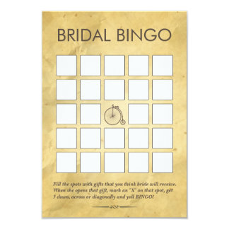 Vintage Old Paper Bridal Shower Bingo Cards