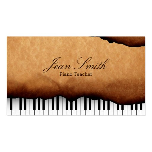 Vintage Old Paper Piano Teacher Business Card Template
