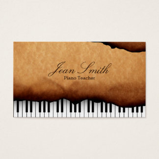 Vintage Old Paper Piano Teacher Business Card
