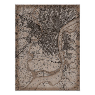 Vintage Old Philadelphia 1898 Map Poster