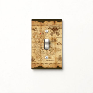Vintage Old Pirate Treasure Map X Marks the Spot Light Switch Cover