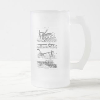 Vintage Old Plows Farm Equipment Agriculture Plow Frosted Glass Beer Mug