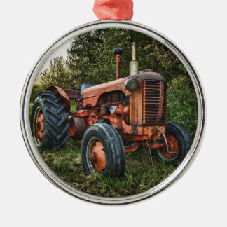 Vintage old red tractor Silver-Colored round ornament