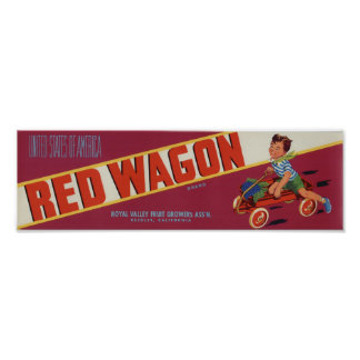 Vintage Old Red Wagon Fruit Crate Labels Poster