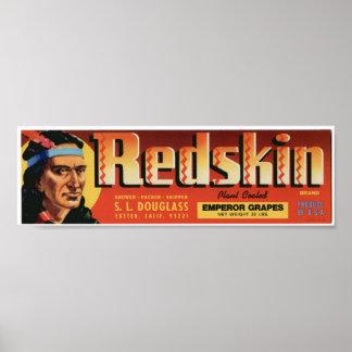 Vintage Old Redskin Indian Fruit Crate Labels Poster