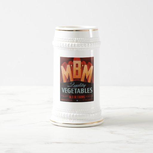 Vintage Old Retro Crate Product Goods Label Veggie Beer Steins