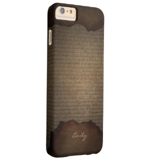 Vintage Old Scripts Background with Name Barely There iPhone 6 Plus Case