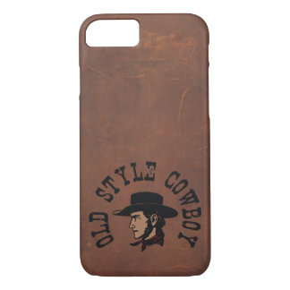 Vintage old style Cowboy on faux leather iPhone 7 Case
