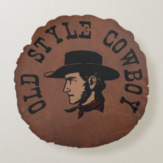 Vintage old style Cowboy on faux leather Round Pillow