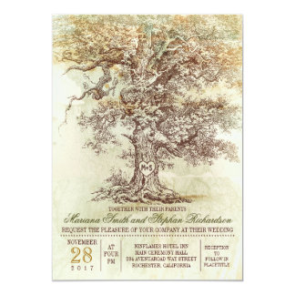 Vintage old tree rustic wedding invitation