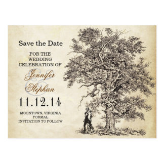 vintage old tree save the date postcards