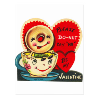 Vintage Old Valentine Coffee Cup & Donut Postcard