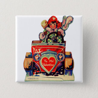 Vintage Old Valentine Little Girl in Automobile 2 Inch Square Button