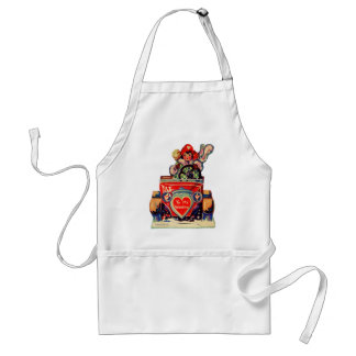 Vintage Old Valentine Little Girl in Automobile Standard Apron