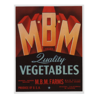 Vintage Old Vegetables Crate Labels Poster