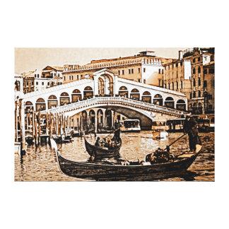 Vintage Old Venice Rialto Bridge Gondola Etching Canvas Print
