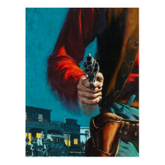 Vintage Old West Gunslinger Cowboy Postcard