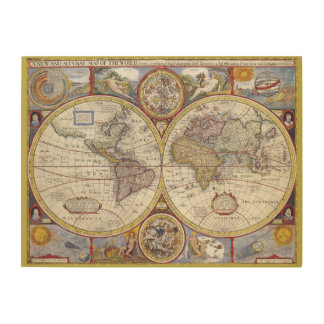 Vintage old world and Antique maps Wood Print