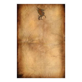 Vintage Old World Dragon on Parchment effect Custom Stationery