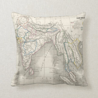 Vintage old world India Indian map print cool Throw Pillow