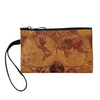 Vintage Old World Map Designer Coin Purse