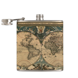 Vintage Old World Map History-lover Design Flasks