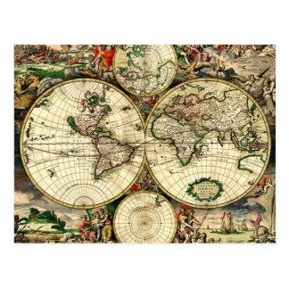 Vintage Old World Map Postcard