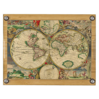 Vintage old world Map Round Cheese Board