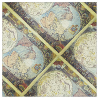 Vintage Old World Map Tiled Pattern Fabric