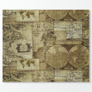 Vintage old world Maps Antique maps Pattern Wrapping Paper