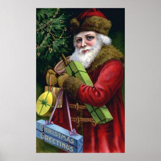 Vintage Old World Santa Claus Christmas Poster