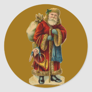 Vintage Old World Santa Claus Christmas Stickers