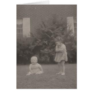 vintage older sister Looks at brother Card