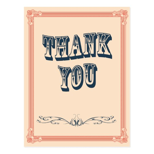 vintage oldwest country Wedding Thank you Card