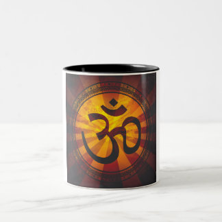 Vintage Om Symbol Print Two-Tone Coffee Mug