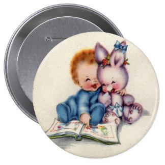 Vintage One Year Old Boy Huge Round Button