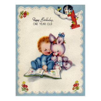Vintage One Year Old Boys Birthday Postcard