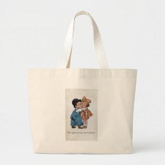 Vintage onery winking man hugs woman jumbo tote bag
