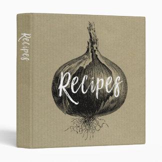 "Vintage Onion Kraft Paper Design 1"" Recipe Binder"